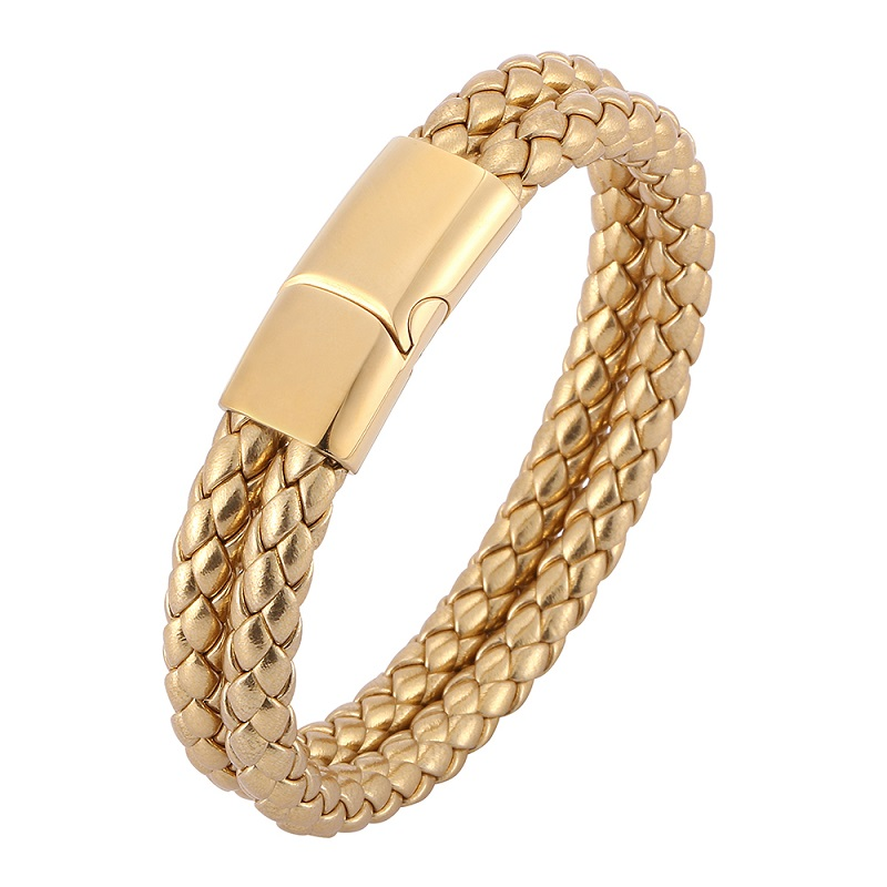 Fashion Double Layer Golden Braided Leather Bracelet Men Jewelry Stainless Steel Magnetic Clasp Women Wrist Band Bangles Gifts