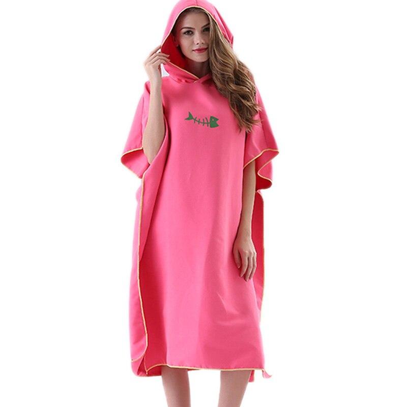 Toalha de Banho ao ar Adulto com Capuz Toalha de Praia Roupão de Banho Nova Secagem Rápida Mudando Robe Livre Poncho Feminino Toalhas Maiô Manto Rosa Mod. 175492