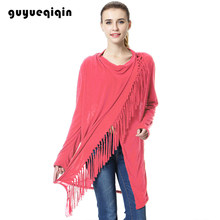 Poncho Women Cardigan Irregular Tassel Cape Coat Minimalist Style Wearing Loose Sweater Outwear Jacket Poncho Coat(China)