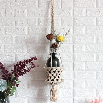 Sypialnia ręcznie tkana sztuka z motywem roślinnym Knitting Home Decor torba z siateczką doniczka kosz liny czeski makrama wiszące gobeliny ścienne wieszak tanie i dobre opinie HANDMADE Poliester Bawełna Nowoczesne Other ROUND