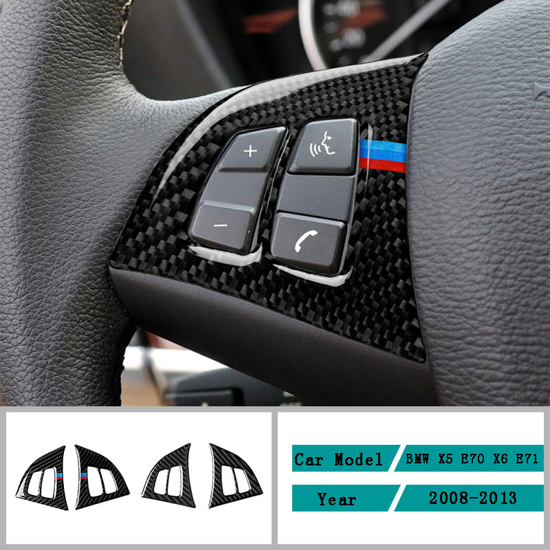 Carbon Fiber Car Accessories Interior Steering Wheel Button Modification Cover Trim Stickers For BMW X5 E70 X6 E71 2008-2013