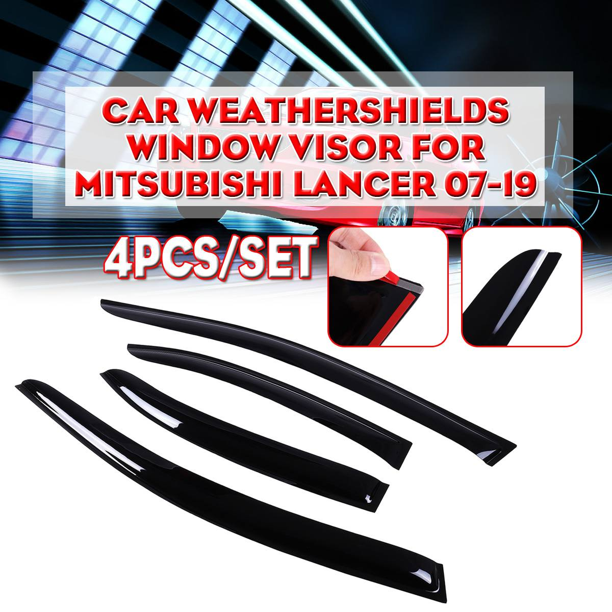 4PCS/Set Black Car Weathershields Window Visor For Mitsubishi Lancer 2007-2019 Sun Window Visor Rain Guard Vent Smoke