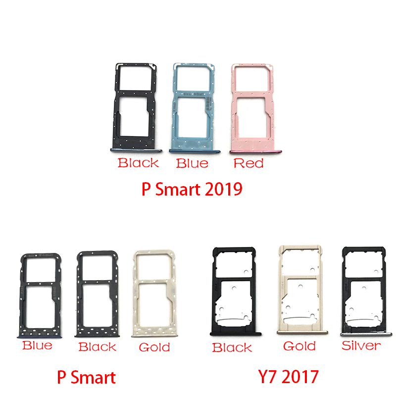 SIM Card Slot SD Card Tray Holder Adapter For Huawei Y7 Y6 Pro 2017 P Smart 2019