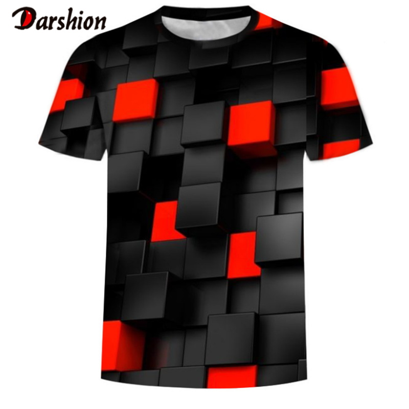 Fashion Black/red Squares Short Sleeve 3D Printed Funny Men Tshirt Casual Summer T-shirt For Men O-Neck Tops Tee Brand Plus Size