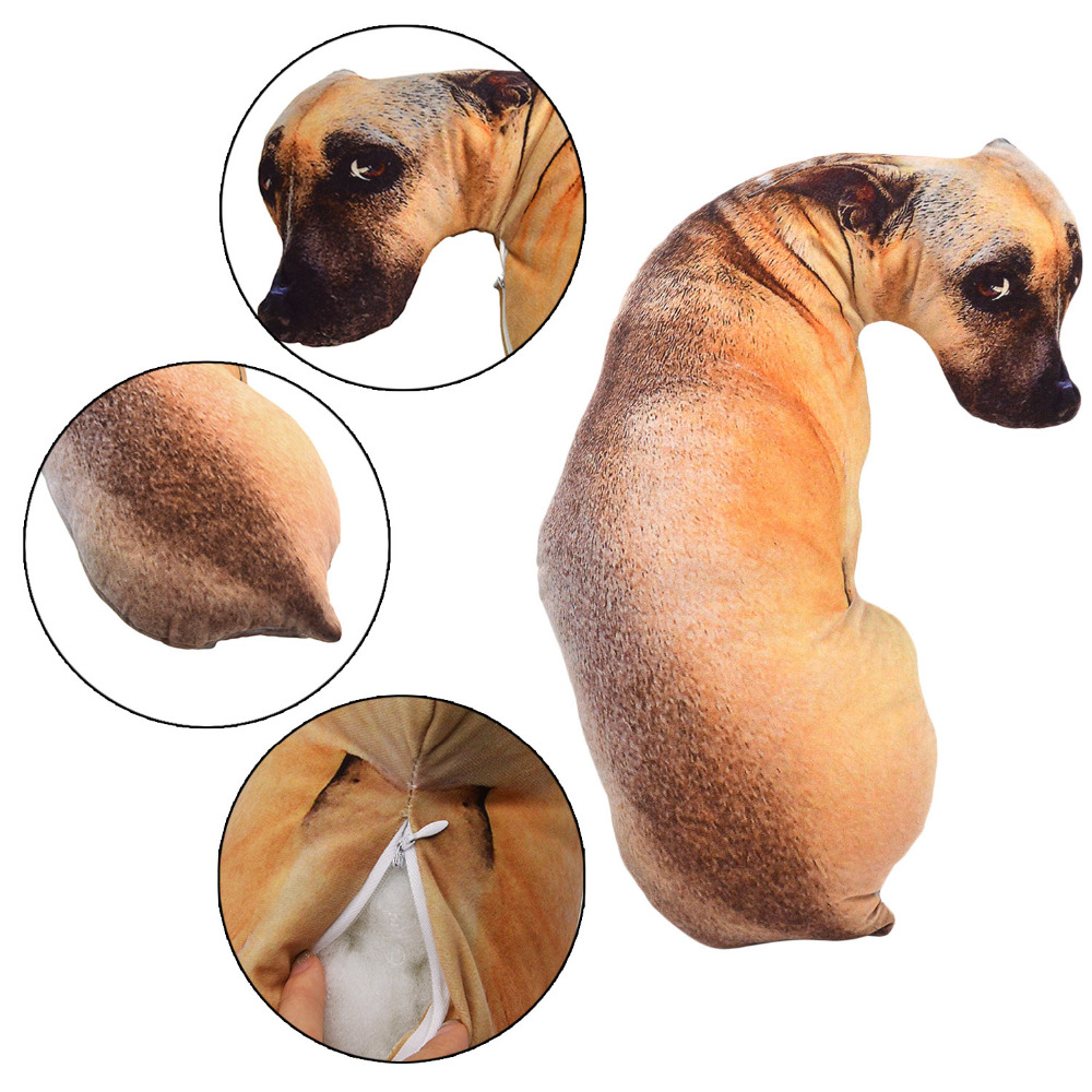 3D Dog Kids Cute Soft Plush Throw Pillow Stuffed Animal Vivid Printed Throw Pillow Cushion Plush Toys For Children Gifts
