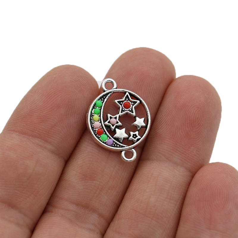 JAKONGO Silver Plated Crystal Moon Star Charm Connector For Jewelry Making Bracelet Accessories DIY Craft 16x22mm