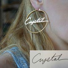 DOREMI 304 Stainless Steel Letter Earrings Round Custom Name Earrings  Female Nameplate Earrings  Anti-allergy 25-100mm