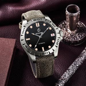 Image 2 - טיטניום מקרה 2020 יוקרה גברים שעונים של אוטומטי מכאני עמיד למים לוח שנה תאריך זוהר שעון שעון גברים Relogio Masculino