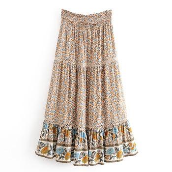цена на Boho Summer Long Skirts Womens High Waist Floral Skirt Gyspy Maxi Skirt Girl Hippie  Long Skirt Women Boho Clothing