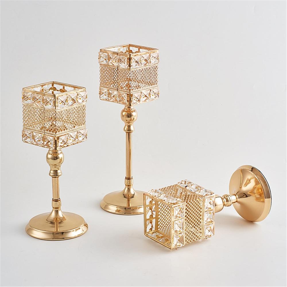 Metalni držač za svijeće Kristali za svijeće Stalak za vjenčanje - Kućni dekor - Foto 3