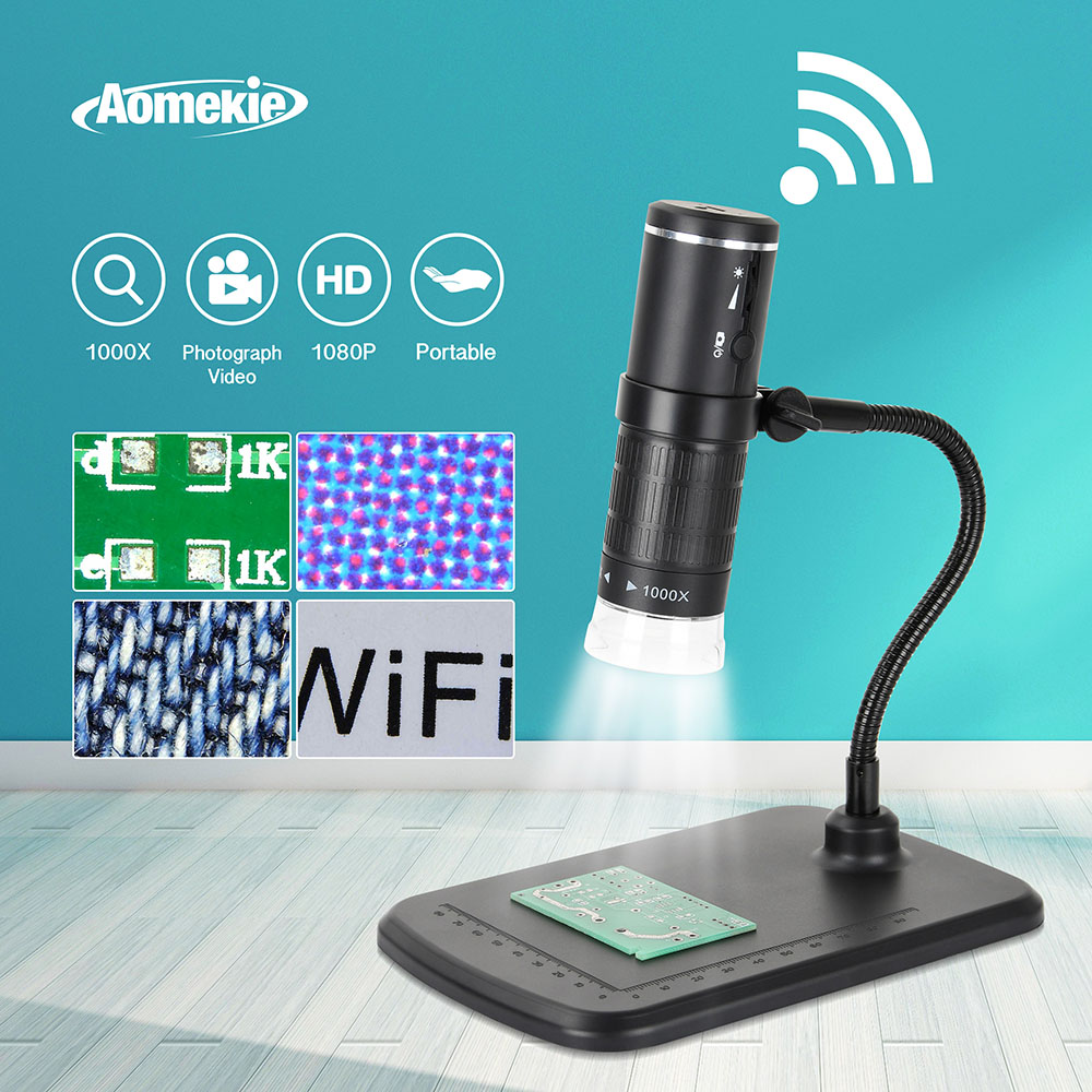 1000X Digital WIFI Microscope 8 LED 800mAh Rechargeable 1080P Smart Phone Microscope Camera Video for PCB Solder Slides Watching