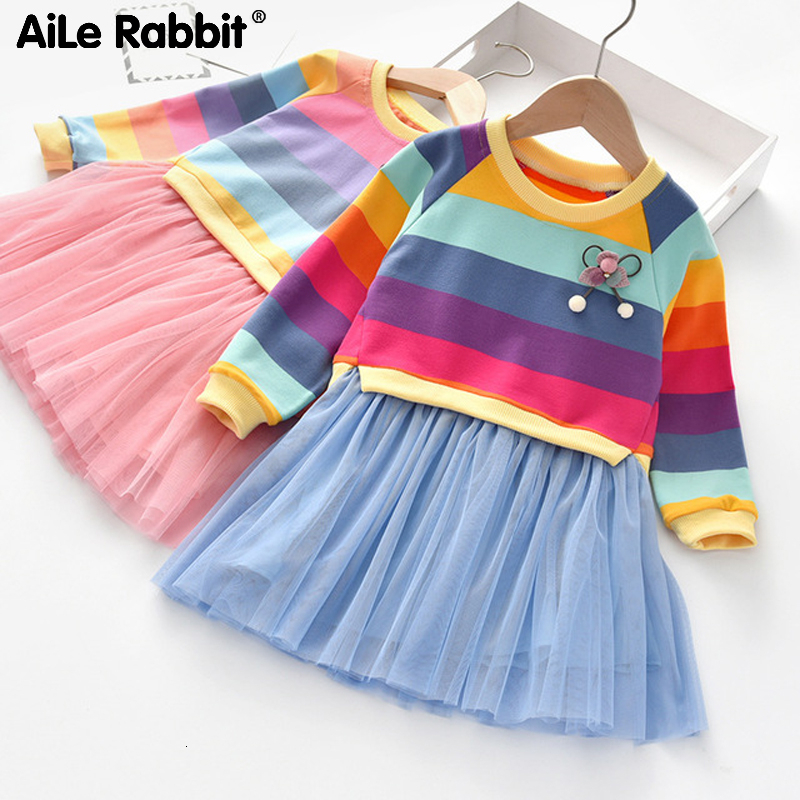 2020 New Arrival Girls Dresses Spring Long Sleeve Striped Colorful Color Rainbow Children's Clothing Princess Fluffy Party Dress