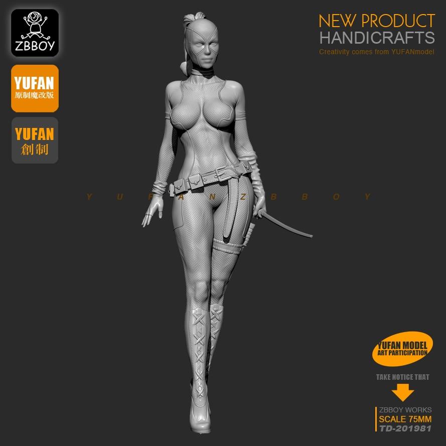 1/24,75MM  Woman Deadpool Resin Kit  Figure Model Unpainted