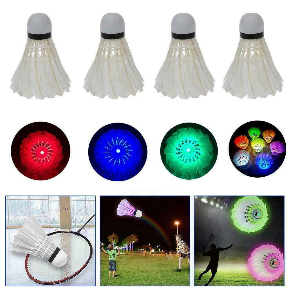 4Pcs Lighting Badminton Shuttlecock Dark Night Colorful Cock Badminton Sport Shuttle Ball Spot Light Accessories LED Lighti D9Q8