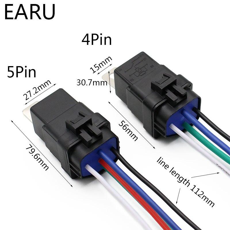 Водонепроницаемое автомобильное реле, герметичное, проводное, 12 в пост. Тока, 40A, 5Pin, 4pin, автоматическое реле с держателем и проводами длиной ...