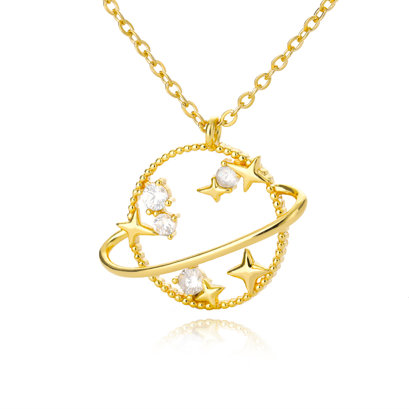 Planet Star Pendant Necklace For Women Gold Silver Color 5