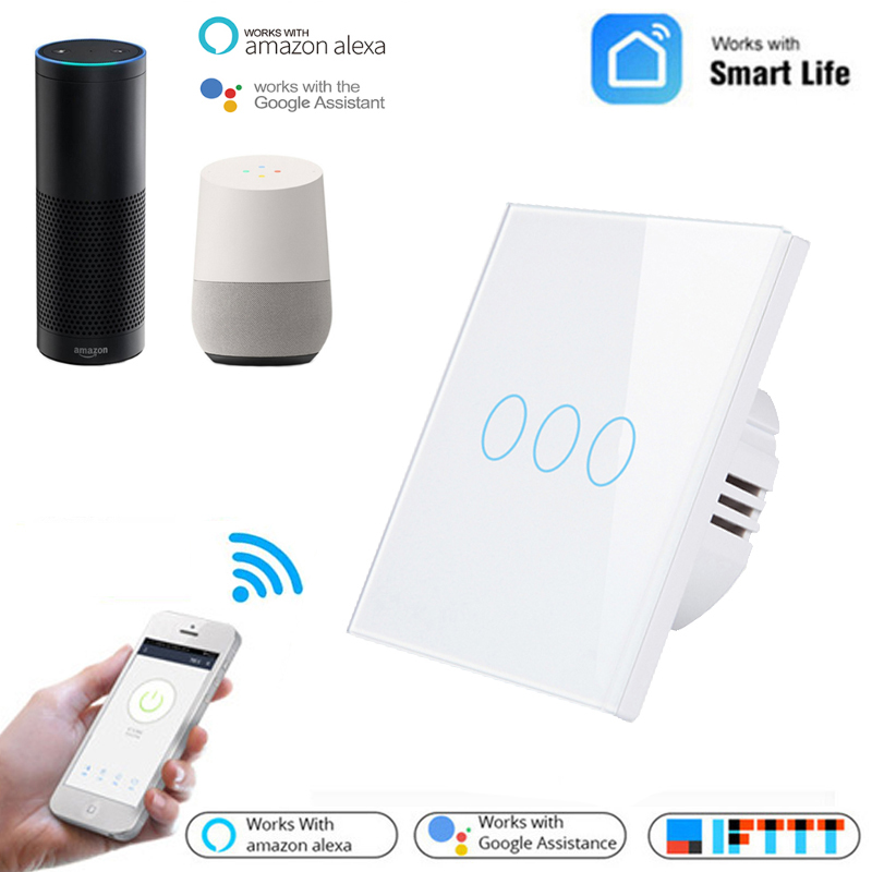 ZUCZUG <font><b>Wifi</b></font> Smart Light <font><b>Switch</b></font> Wall Touch Screen 1 <font><b>2</b></font> 3 <font><b>Gang</b></font> Voice Control Timing <font><b>Switch</b></font> Compatible With Alexa Google Home - EU image