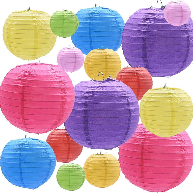 5 sztuk 10/15/20/25/30cm okrągłe papierowe latarnia chiński Handmade Craft DIY do zawieszenia z papieru okrągły lampion wesele dekoracji