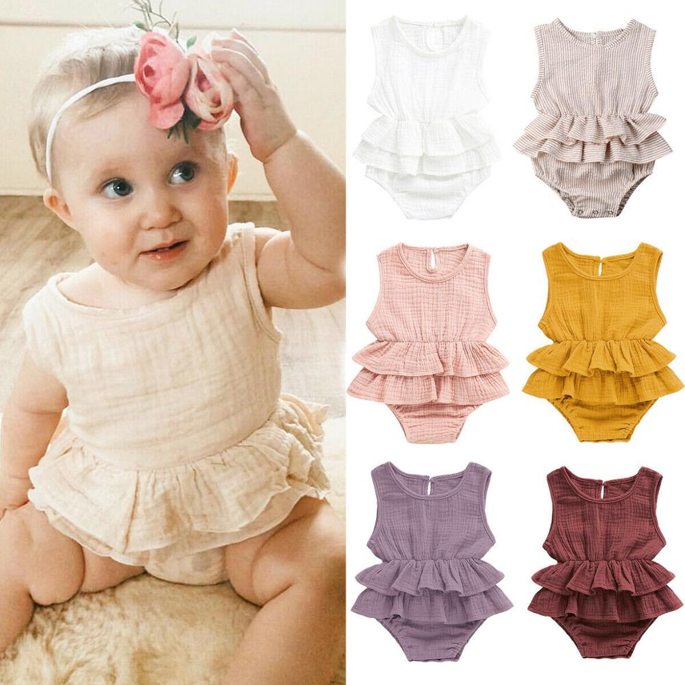 USA Baby Kids Girls   Rompers   Solid Color Sleeveless Striped Bubble Tutu Dress Outfit Newborn Infant Baby Clothes Lovely