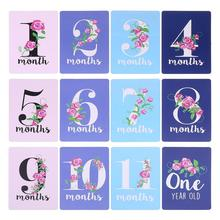 12 лист% 2FSet +Milestone Photo Sharing Cards Gift Baby Age Cards Newborn Photo Props B36E