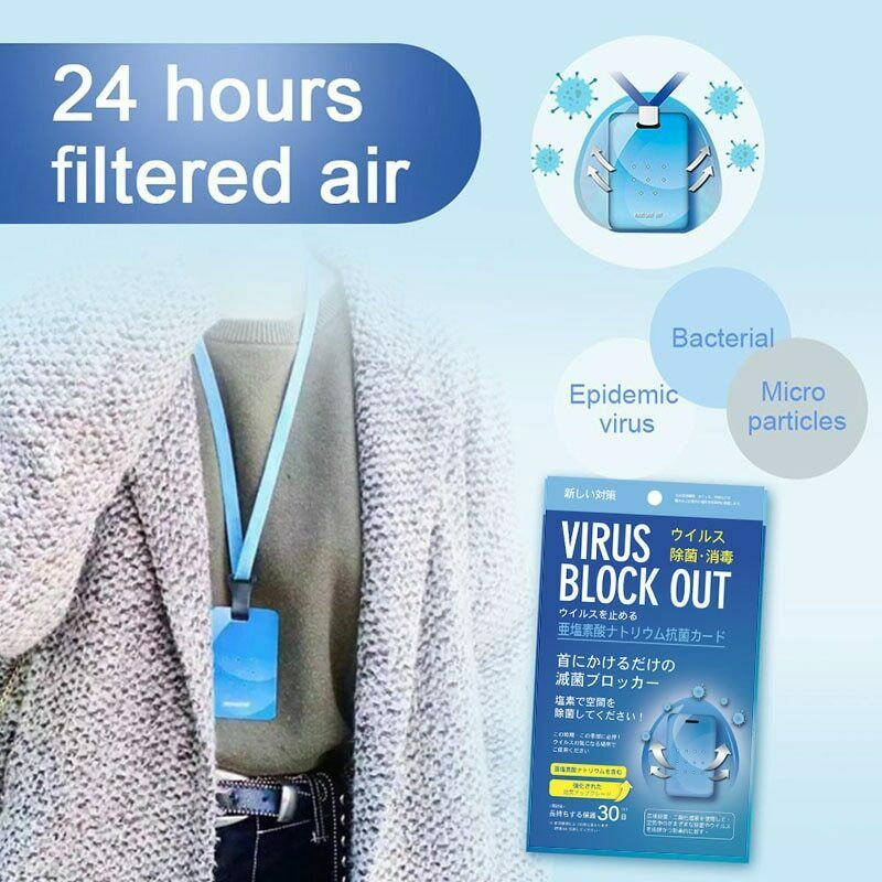 3pcs Bacteria Block Out Card Air Freshener Sterilization Card Disinfection Lanyard Antibacterial Card Clean Outdoor