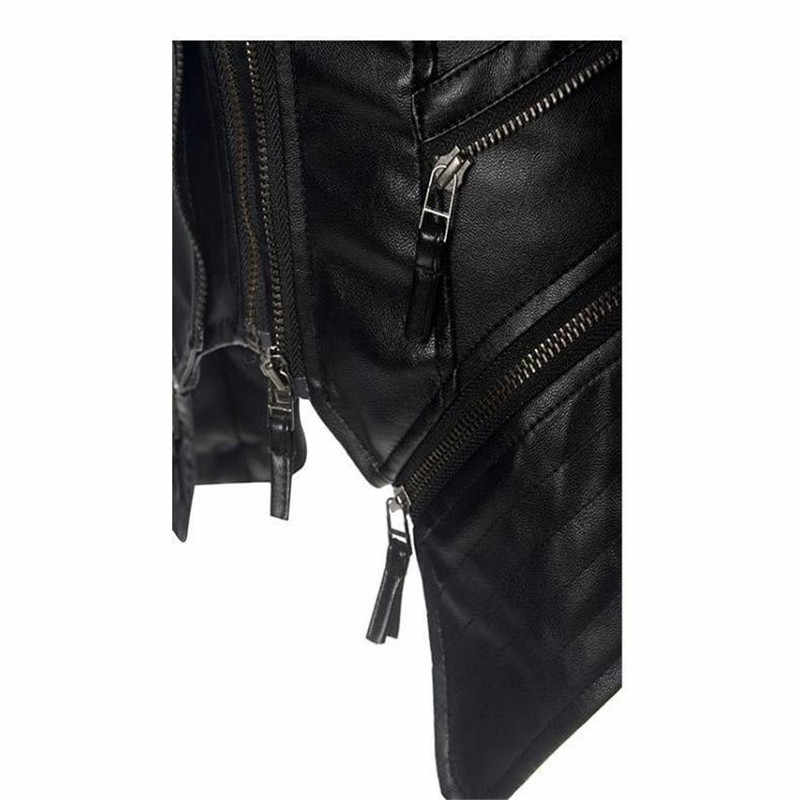2019 casaco da motocicleta jaqueta feminina inverno outono preto moda outerwear falso couro pu jaqueta gótico do falso casacos de couro