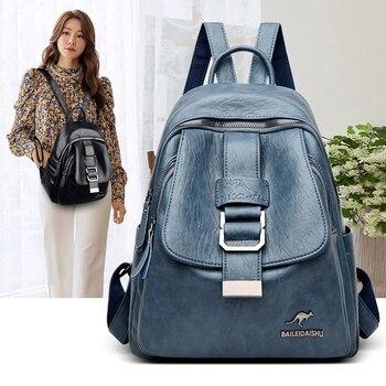 stylish leather women backpack…