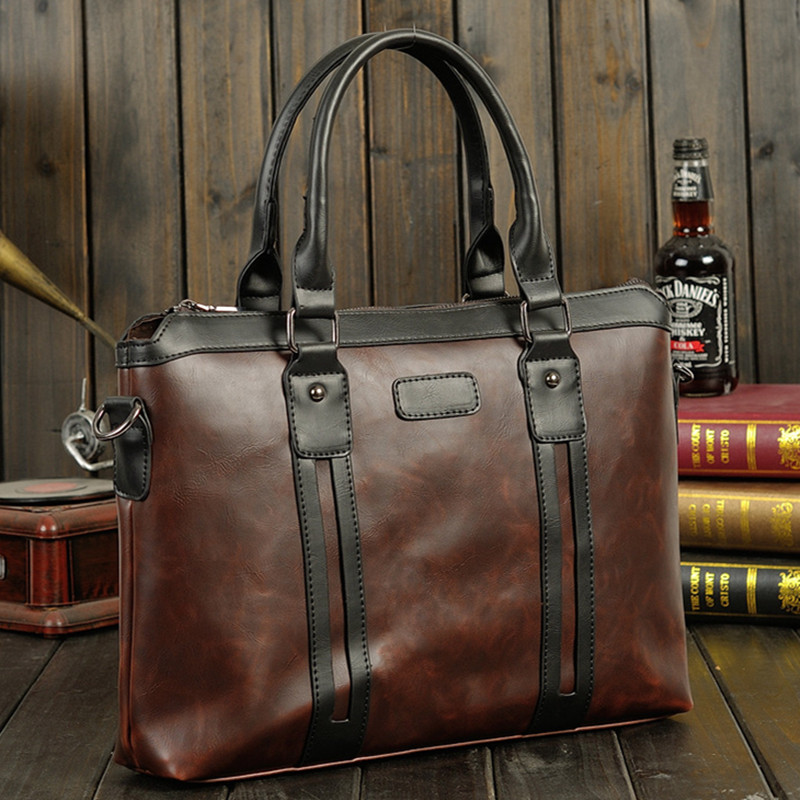 Men's Vintage Briefcase Waterproof PU Leather Handbag Male Computer Laptop Bag Business Office Shoulder Bags Large Capacity Tote