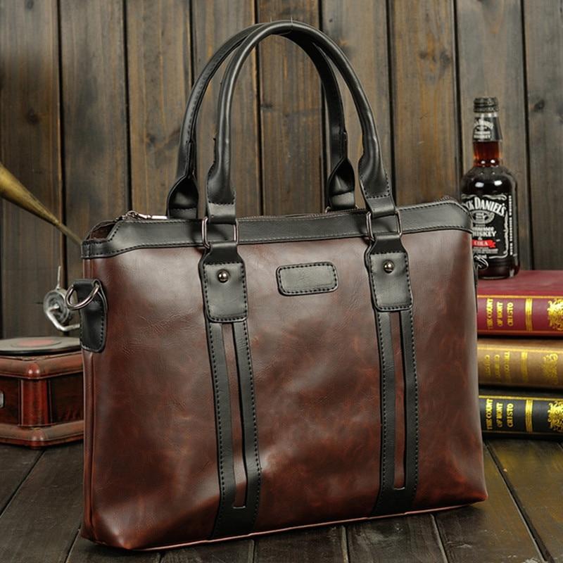 Men's Vintage Briefcase Waterproof PU Leather Handbag Male Computer Laptop Bag Business Office Shoulder Bags Large Capacity Tote