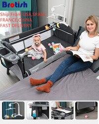 Brosh cuna empalme Cama grande removible bb multi-función portátil plegable recién nacido bebé cabecera cama cuna cama patio cama