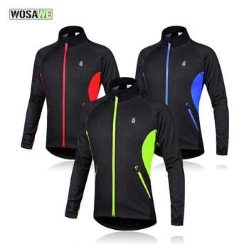 цена на WOSAWE Winter Fleece Thermal Cycling Motorbike Jackets Windbreaker Warm Up Outdoor Bicycle Mountain Bike Clothing Sportswear