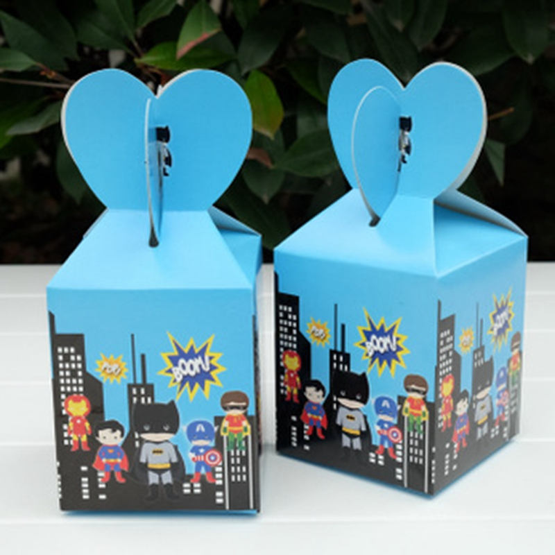 6pcs/lot Avengers Spiderman Batman Superhero Candy Box Kids Favors Birthday Gift Box Party Decorations Supplies Baby Shower Hot