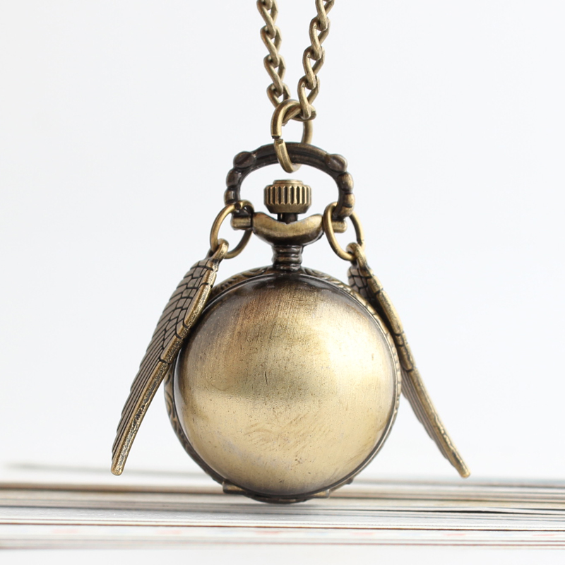 Pocket & Fob Watches Antique Bronze Angel Wing Quartz Pocket Watch Men Women's Watch Snitch Ball Necklace Pendant Clock