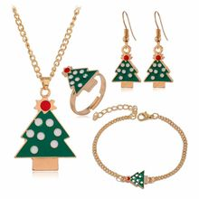 Christmas Accessories 4pc/set Christmas Tree/Santa Claus/elk Dangle Earrings Pendant Necklace Bracelet Rings Women Party Jewelry santa claus enamel christmas dangle earrings
