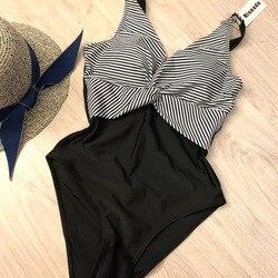 Riseado, винтажный сдельный купальник, полосатый купальник, для женщин, с глубоким вырезом, с рюшами, летняя пляжная одежда, U-back, из кусков, купал... 6