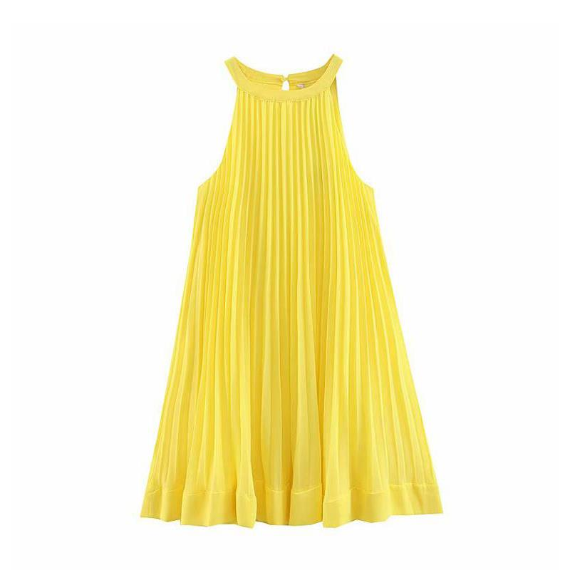 kawaii sleeveless pleated yellow <font><b>dress</b></font> women <font><b>Sexy</b></font> chiffon <font><b>mini</b></font> <font><b>dress</b></font> elegant beach party <font><b>dresses</b></font> 2019 lady korean vestidos image