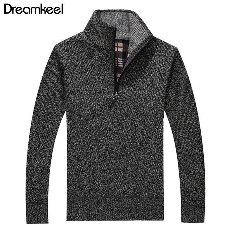 Zipper Sweater Pullover Knitted Male Thick Men's Winter New Slim-Fit Autumn Collar Solid