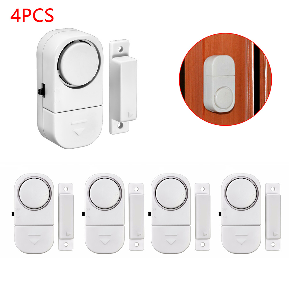 4 Pcs Home Safety Alarm System Standalone Magnetic Sensors Independent Wireless Door Window Entry Burglar House Security Tools