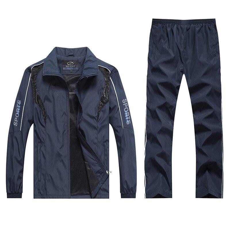 Men's Sets Two-piece Suite Sportswear Autumn Outerwear Men's Wear Pants 5XL Windproof Casual Coat Leisure Patchwork MOOWNUC 2019