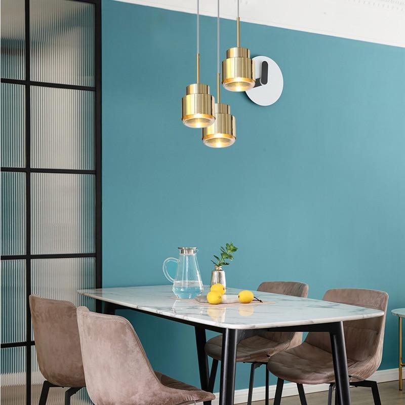 Işıklar ve Aydınlatma'ten Kolye ışıkları'de Basit modern kişilik tasarımcı otel başucu modeli odası kahve dükkanı cam LED tek kafa küçük avize title=