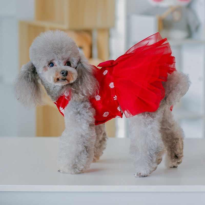 Falda Bowknot de primavera y verano para mascotas para perros pequeños y medianos, faldas para perros 2020 negras, azules, rojas (opcionales)