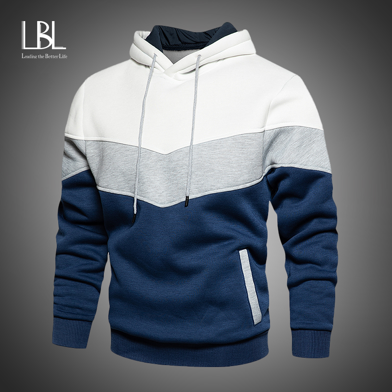 LBL Hoodies For Men 2020 Autumn New Men's Hooded Sweatshirts Patchwork Fleece Hoody Man Streetwear Casual Pullovers Brand Tops