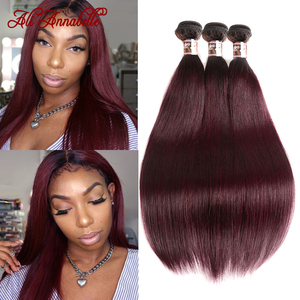 ALI ANNABELLE HAIR Ombre Brazilian Straight Hair 1B/99j Burgundy Ombre Hair Weave Bundles 99J Red Colored Human Hair Extension