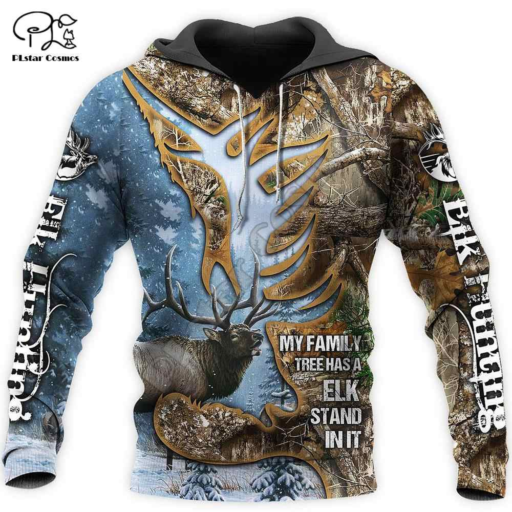 PLstar Cosmos camouflage Bow cerf chasse Animal chasseur pull NewFashion manches longues unisexe 3DPrint Zip/sweat à capuche/sweat/veste 17
