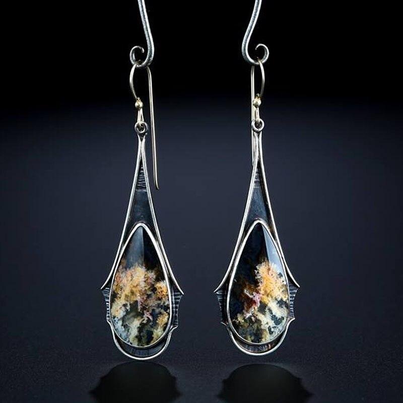 Elegante vintage multicolorido brincos longos para feminino resina jóias acessórios gancho da orelha boho água gota fogo brincos o3d332