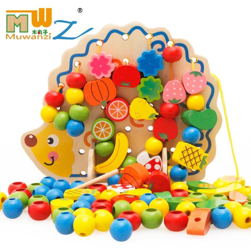 Bois Animal Fruit perlé Bracelet géométrie perle-cordage jouet blocs de construction filetage portant jeu de corde jouet pour enfants hérisho