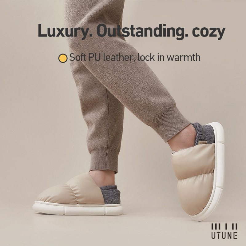 UTUNE New 2021 Toast Winter Women Slippers Warm Indoor Thick Sole Men Home Shoes Plush Dual purpose Shoe Light Outside Slippers
