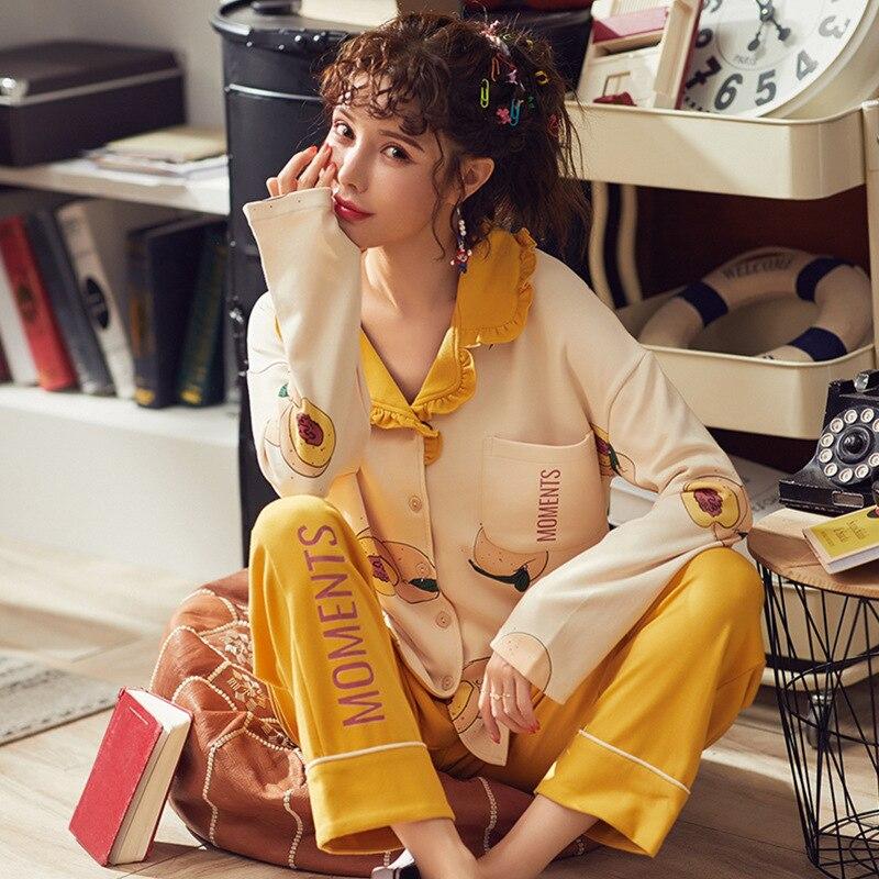 Vêtements d'hiver femme pyjamas coton mignon hiver pyjama ensemble femmes 2 pièces pyjamas vêtements de nuit