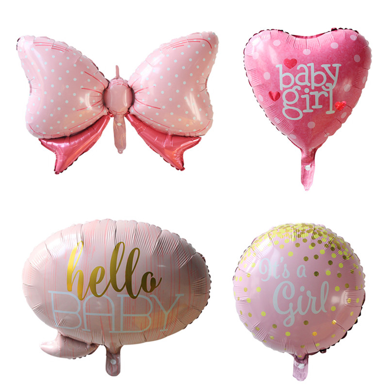 4pcs/lot Baby Shower It Is A Boy/ Girl Balloons 1st Birthday Ballon Crown Bow Globos Party Decorations Kids Baloon Cartoon Hat