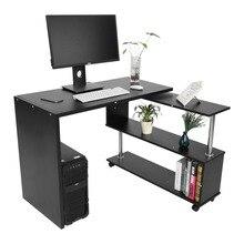 Вращающийся на 360 градусов l-образный угловой компьютерный офисный стол с книжными полками домашний стол коммерческая мебель